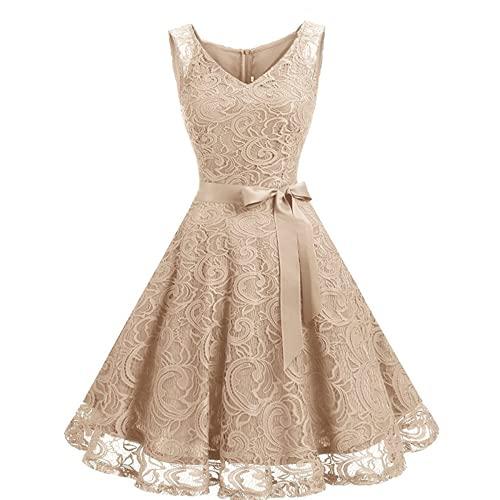Daysskk Vestido de fiesta para mujer, sin mangas, elegante, largo hasta la...