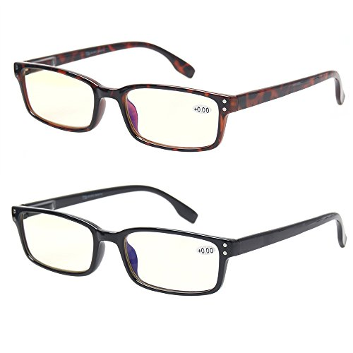 Computer Glasses 2 Pair UV Protection, Anti Blue Rays, Anti Glare and Scratch Resistant Computer Reading Glasses (1.5, 2 Pack Mix Color)
