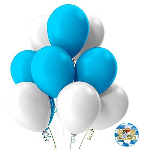 TK Gruppe Timo Klingler 3X 50x Oktoberfest Luftballons Ø 35 cm Mix weiß und blau als Deko Dekoration für Wiesn, Canstatter WASN (150x Luftballons)