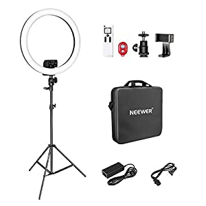 Neewer Advanced 18-inch LED Ring Light Support Manual Touch Control with LCD Screen, 2.4G Remote and Multiple Lights Control, 3200-5600K, Stand Included for Makeup YouTube Video Blogger Salon (Black)