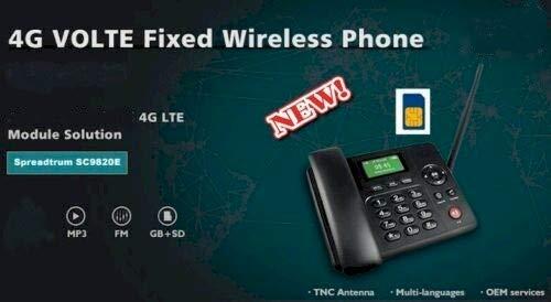4G Wireless Bluetooth gsm - Teléfono Fijo analógico (inalámbrico), Negro - Pantalla a Color - Android 4.4