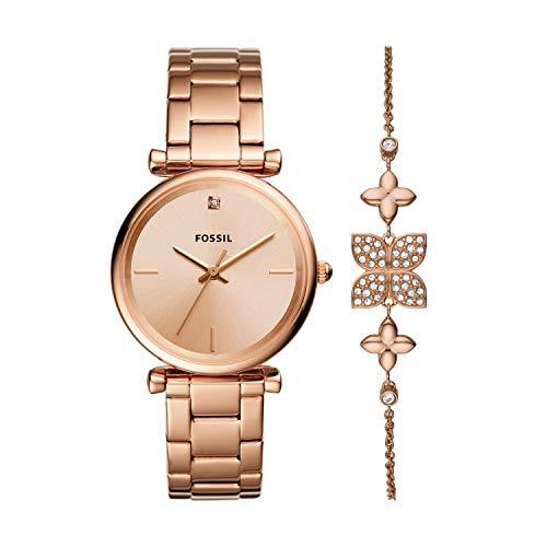 Fossil Damen Analog Quarz Uhr mit Edelstahl Armband ES4685SET