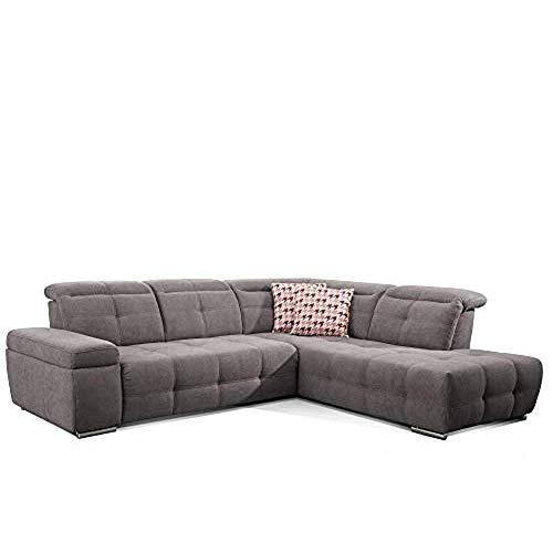 CAVADORE Ecksofa Mistrel mit Ottomanen rechts / Große Eck-Couch im modernen Design / Inkl. verstellbare Kopfteile / 269 x 77 x 228 / Grau
