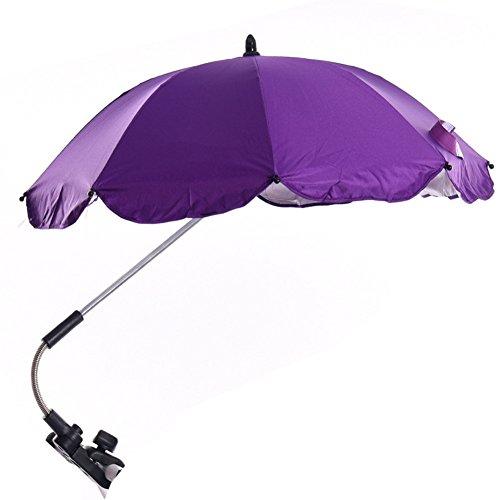 Katech Parasol desmontable para cochecito de bebé con conector giratorio ajustable y soporte de paraguas