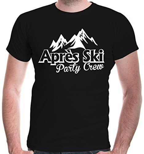 buXsbaum® Herren Unisex Kurzarm T-Shirt Apres Ski Party Crew | Funshirt Skifahren Skifahrer Piste | M Black-White Schwarz