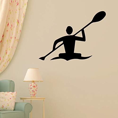 Ofomox Kayak Silueta Pared decoración Pegatina decoración del hogar Deportes niño habitación Pared Pegatina Gimnasio Papel Autoadhesivo 88x111cm