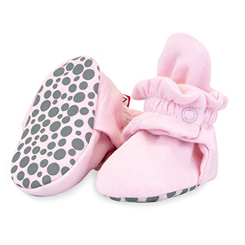 Zutano Organic Cotton Baby Booties with Gripper Soles, Soft Sole Stay-On Baby Shoes, Baby Pink Solid, 24M