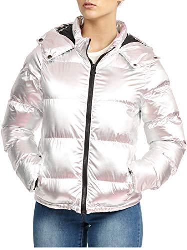 SS7 dames gewatteerde winter parka jas, metallic zilver, maten 8 tot 16