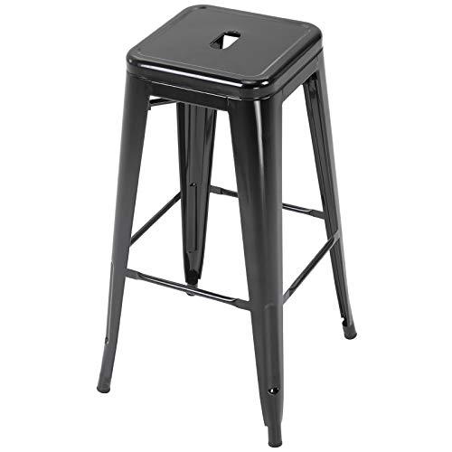HOMCOM Conjunto de 4 taburetes de Bar Estilo Industrial Apilables y con Reposapiés Aptos para Interiores y Exteriores 43x43x76 cm Carga hasta 120kg Color Negro