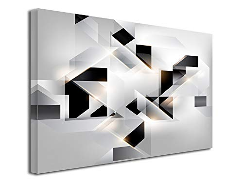DECLINA - Cuadro decorativo para pared, cuadro decorativo para el hogar, cuadro decorativo de pared, salón, lienzo abstracto origami, 150 x 100 cm, negro y blanco