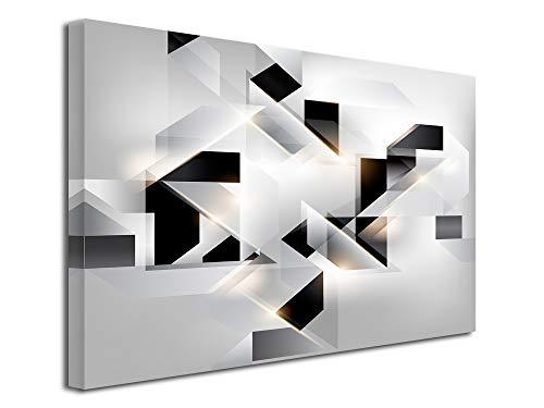 DECLINA, Décoration Murale Tableau, Tableau Deco Home, Tableau Deco Murale Salon,Tableau Toile Abstrait Origami 80x50 cm Noir et Blanc