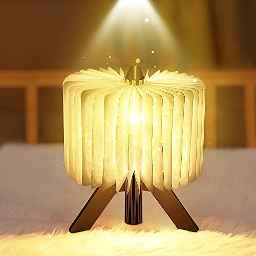 Lámpara Libro Plegable, LED Luces de Libro Madera Recargable USB 2 Cambio de Colors, 1700mAh Batería, Luces de Noche Para Cumpleaños Navidad Dormitorio, Creative Regalo