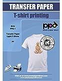 PPD A4 Carta Trasferibile Termoadesiva Per Stampanti A Getto D'Inchiostro Inkjet - T-Shirt E Tessuti Di Colore Chiaro x 100 Fogli - PPD-1-100