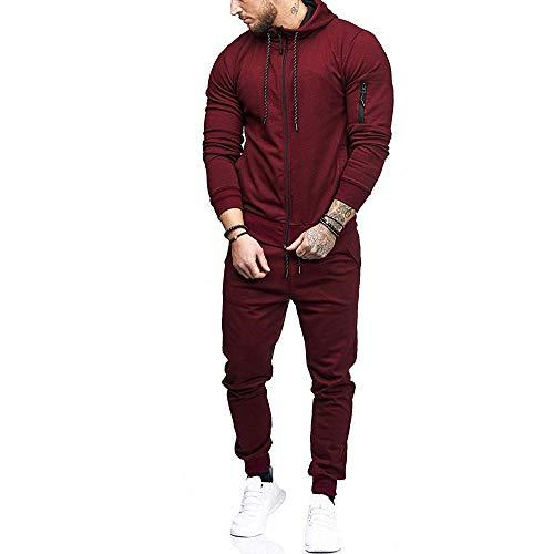 Byeel Hoodie Trainingsanzug für Männer, 2019 Teen Jungen Mode Slim Fit Reißverschluss Sweatsuit Athletic Laufjacke Hose Jogginganzug (Weinrot, XL)