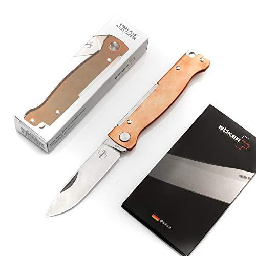 BÖKER PLUS® Atlas Messer - kleines Slipjoint Taschenmesser - Klappmesser mit Metall Griff - EDC Vollmetall Messer - Vintage Sandvik Messer (Taschenmesser Kupfer)
