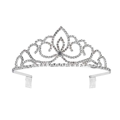 Tiaras Crown Comb Rhinestone Crown for Bridal for Girl Women Decoration on Birthday Wedding Party Prom Silver