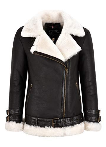 Smart Range Leather Giacca da Donna in Pelle di Montone B3 Giacca Lunga con Cintura in Pelliccia Shearling Marrone con Cerniera Incrociata NV-53 (50 IT)