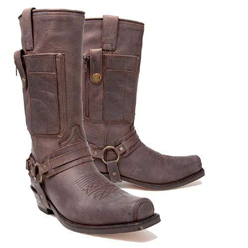 FDCVS Botas largas Botas de Caballero de tacón Grueso Botas de Vaquero Occidentales Unisex Zapatos de algodón Grueso Botas con Remaches Botas Chelsea Retro Decoración de cinturón,Dark brown-38