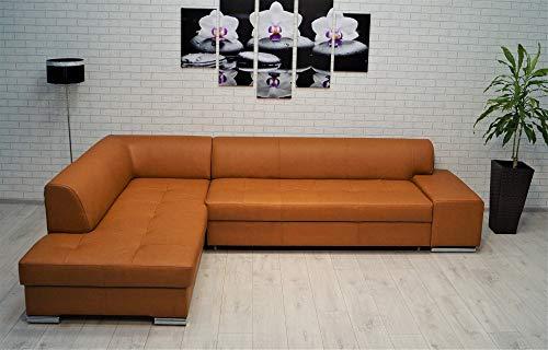 Quattro Meble Londen Pik Hoekbank, 300 x 200 cm, echt leer, sofa met bedfunctie en bedkoffer, echt leer, hoekbank, grote keuze aan kleuren Ecke Links Monndial 5329