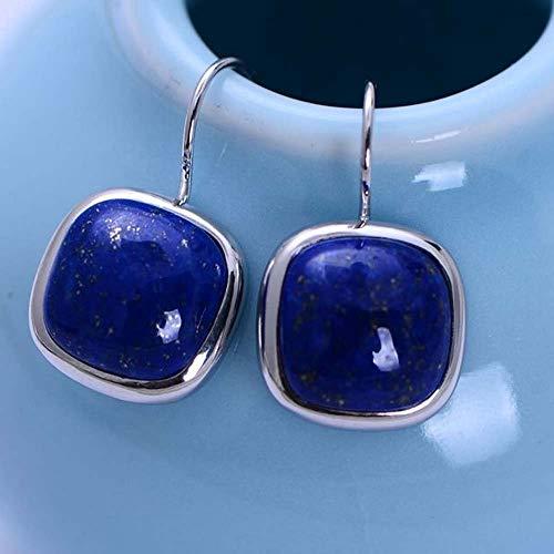 Erhuan Joyas Jade Angel 925 Pendientes de plata esterlina cuadrados Lapis Lazuli Dorp naturales