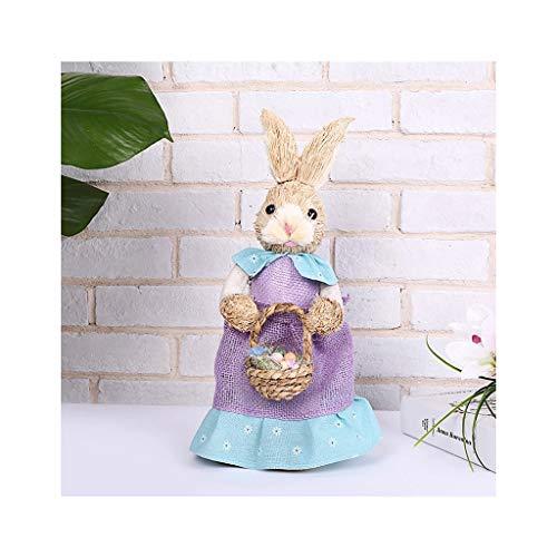 6Wcveuebuc Decoraciones de Pascua de conejo de paja, decoración de vacaciones, jardín, boda, decoración de fotos