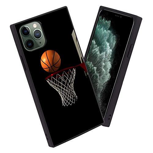 FAUNOW iPhone 11 Pro caja cuadrada del teléfono con el borde del baloncesto TPU protección del cuerpo completo reforzado esquinas caso