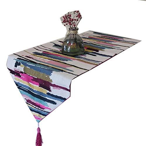 AueDsa Table Runner Decor 32x120CM,Table Runner Cotton Linen Striped Pattern Rose Red