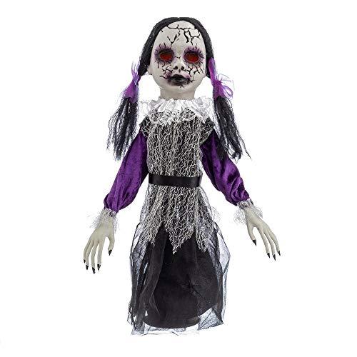 Muñeca diabólica con luz, Sonido y Movimiento de Halloween Lila de 65x20x58 cm - LOLAhome