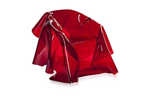 Iplex Design Drappeggi d'Autore stoel van plexiglas, transparant, rood