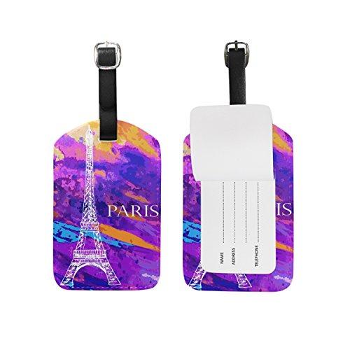 My Daily Eiffel Tower Paris Acuarela equipaje etiquetas pu cuero maleta maleta etiqueta equipaje 2 piezas conjunto