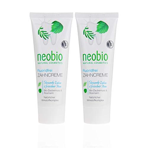NEOBIO Zahncreme ohne Fluorid (2 X 75 Ml), Rosmarin Und Zaubernuss Geschmack, Bio Zahnpasta, Vegan, Fluoridfrei, Naturkosmetik