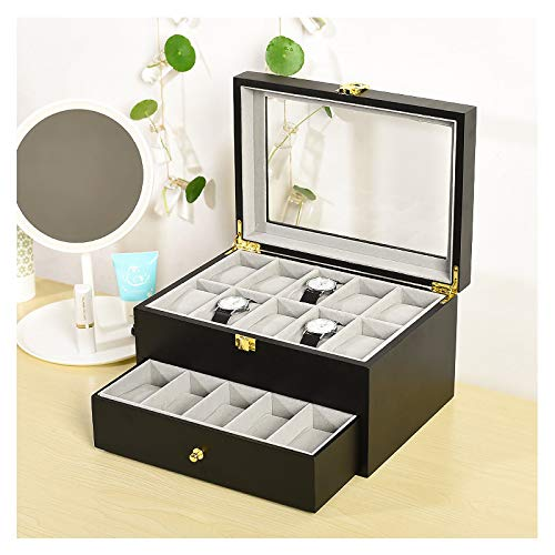 Organizador de Relojes con 20 Ranuras, Caja de Madera para Relojes con...