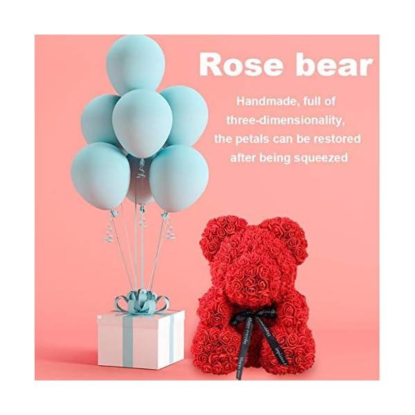 Oso de rosa artificial – oso de peluche preservado rosa para siempre, flor falsa rosa para regalo de San Valentín…