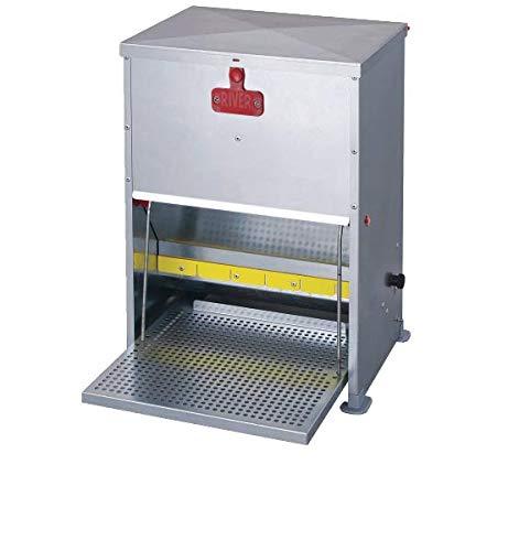 horizont Hühnerfutterautomat mit Trittklappe aus verzinktem Blech (17 Liter/12 kg)