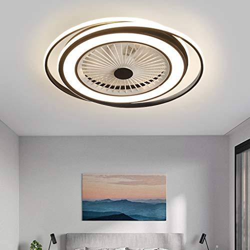 Ventilador Lámpara De Techo LED Control Remoto 3000K-6000K Regulable Invisible Silencio Ventilador 3 Velocidades Luz Techo Sala Dormitorio Habitación Lámpara Colgante Ahorro Energía Blanco Y Negro,B