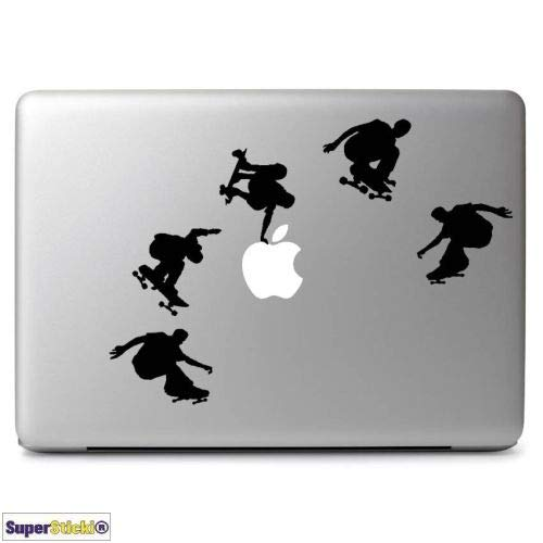 SUPERSTICKI Skateboard Tricks Sticker voor laptop MacBook