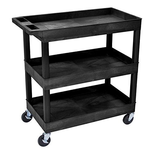 "Offex 32""W x 18""D Rolling 3 Shelf Utility Storage Tub Cart - Black"
