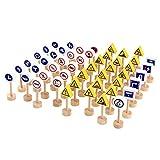 ASFD 50 unids/Set Bloques de construcción de señales de tráfico de Madera de Doble Cara Juguetes neutrales para niños Juguetes de Desarrollo Juguetes preescolares