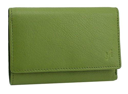 StarHide 5515 - Portafoglio da donna in vera pelle con tasca multipla con cerniera e monete, Verde (Verde) - 5515-GREEN