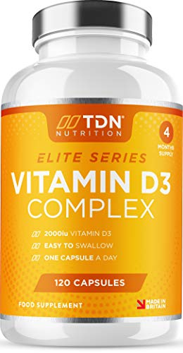 Vitamin D3 Complex - High Strength 2000iu - 120 Capsules - Enhanced with Vitamin D, C, Zinc, B6 and B12 - Plus Turmeric Curcumin, Rosehip & Black Pepper for Absorption - 4 Months - UK Made