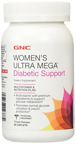 GNC Women's Ultra Mega Diabetic Support, 90 Caplets, Multivitamin with Premium Ingredients to Support Glucose Metabolism