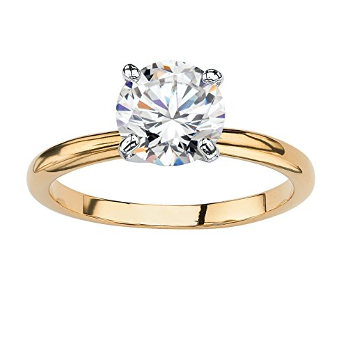 Lux 18K Yellow Gold Plated Round Cubic Zirconia Solitaire Engagement Ring