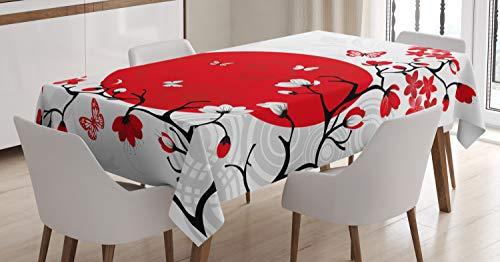 ABAKUHAUS Japonais Nappe, Cerise Sakura Arbres, Linge de Table Rectangulaire pour Salle à Manger Décor de Cuisine, 140 cm x 200 cm, Vermilion Noir Blanc