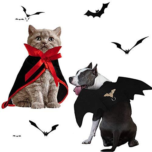 Disfraz de Halloween para mascotas-Batwing y capa de vampiro bruja Combinación de disfraz de Halloween, decoración de Halloween para mascotas