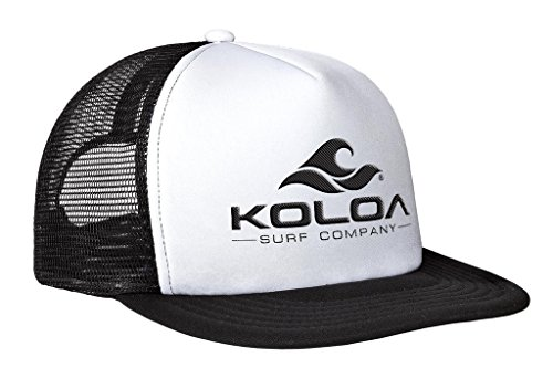 Koloa Surf Mesh Back Wave Logo Trucker Hat in White/Black Black Logo