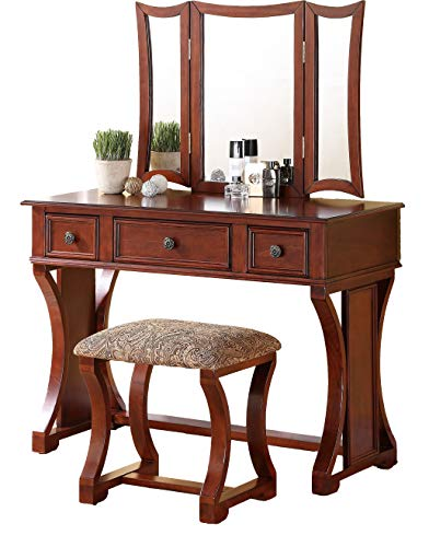 Poundex Bobkona Edna Vanity Set with Stool, Cherry