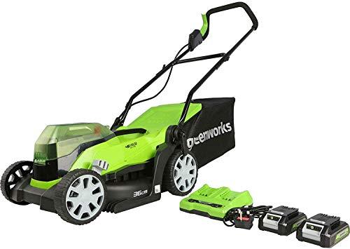 Greenworks Cortacésped con batería G24X2LM36K2x (Li-Ion 24V/48V 36cm ancho corte hasta 250m² Bolsa captura hierba de 40L Ajuste central altura de corte 5 veces, incluye2 baterías 2Ah y cargador)