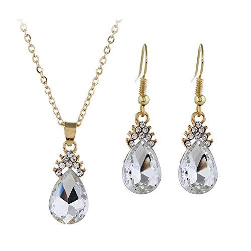 Treestar Europa stati goccia di cristallo collana ciondolo orecchini gioielli collana da donna elegante set 1PCS  rosso , Lega, White, 1 * 2.6cm
