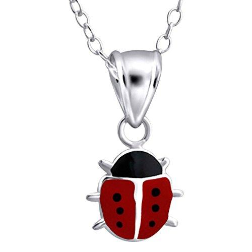 Collar de Mariquita Negro y Rojo - Plata de ley 925 - Amuleto de la Suerte