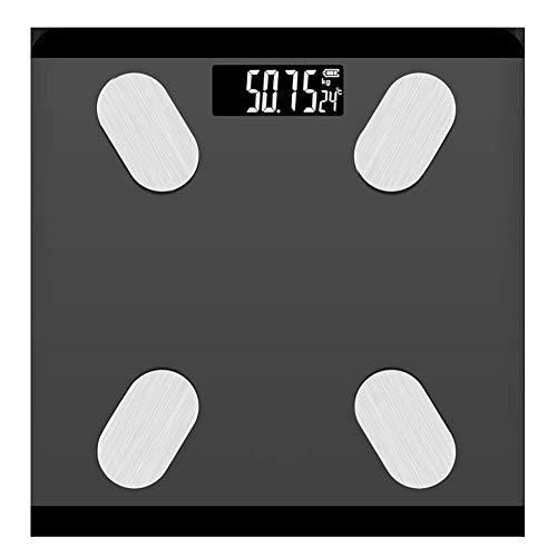 FYLD Digitale weegschaal, bluetooth, ultraslanke weegschaal, met app voor BMI, gewicht, spiermassa, water, etc, led-display, G-vormige sensor, 180 kg, 28 x 28 cm